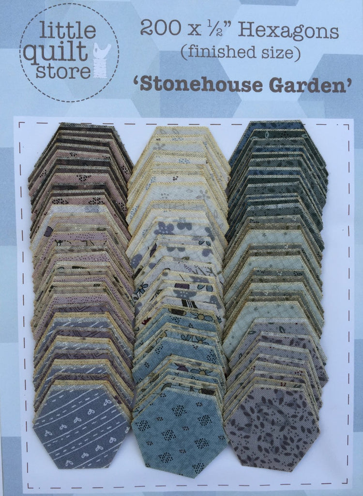 "Fabric Hexagon - 1/2"" laser cut - Stonehouse Garden"