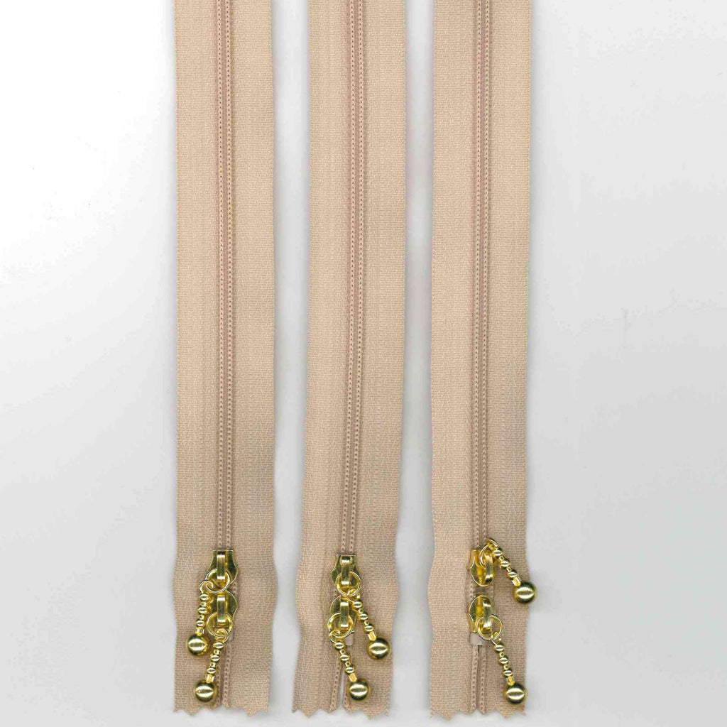 Zipper Pack - 40cm Beige Double Ended - Gold Pulls