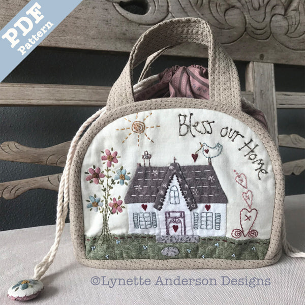 Bless our Home Drawstring Bag - Downloadable Pattern