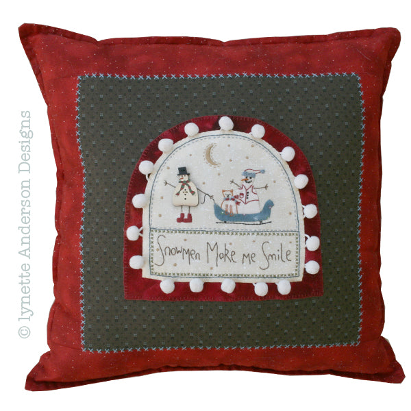 Snowmen Make Me Smile Pillow -pattern
