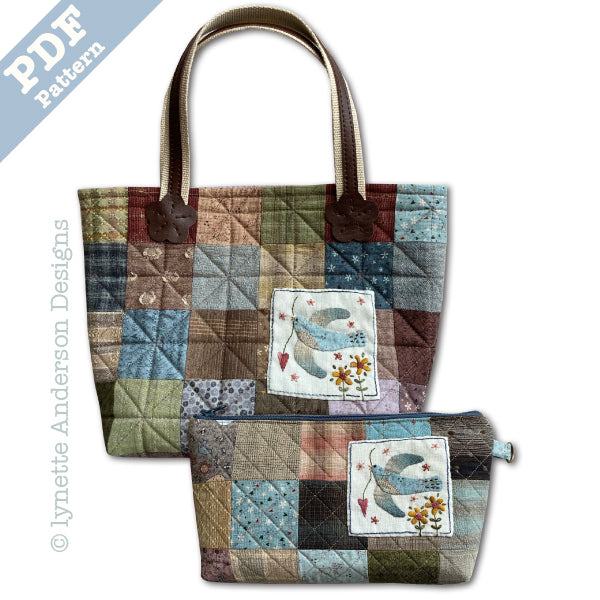 Little Bluebird Tote & Zippered Pouch - Downloadable Pattern
