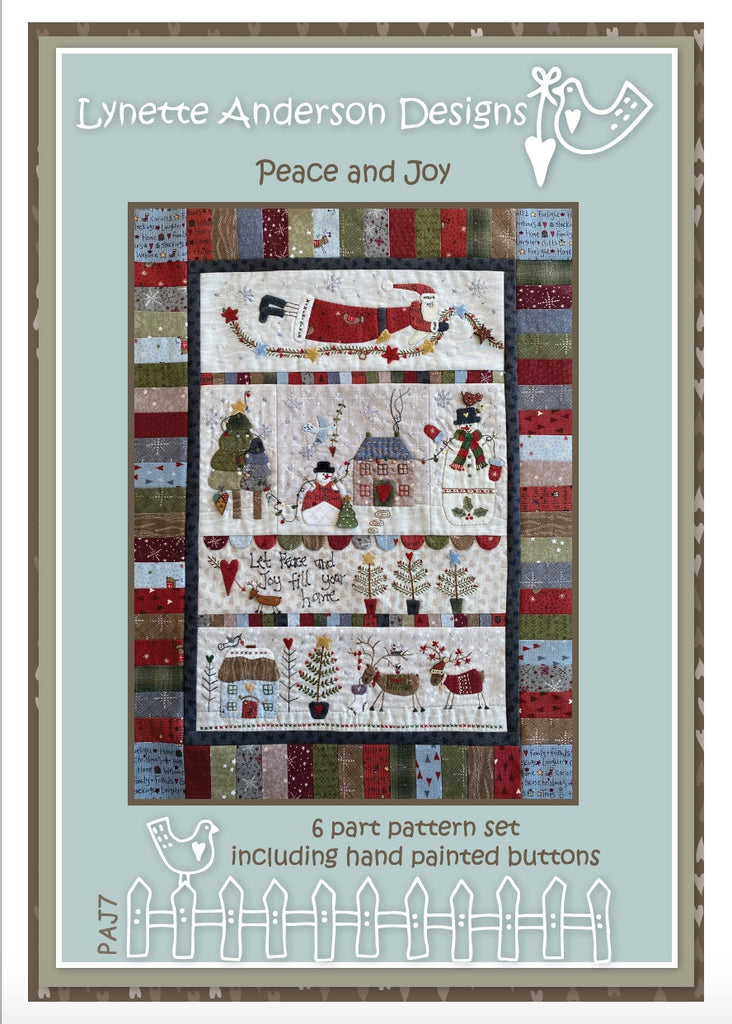 Peace and Joy - pattern set with Hand painted buttons