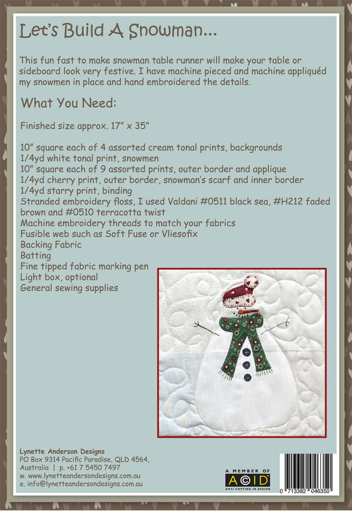 Let's Build a Snowman Tablerunner - downloadable pattern