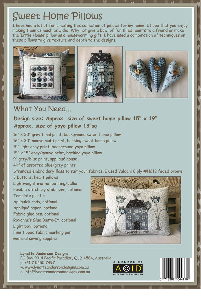 Sweet Home Pillows - downloadable pattern
