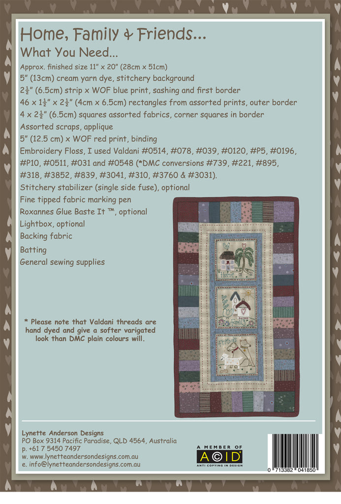 Home Family and Friends - downloadable pattern