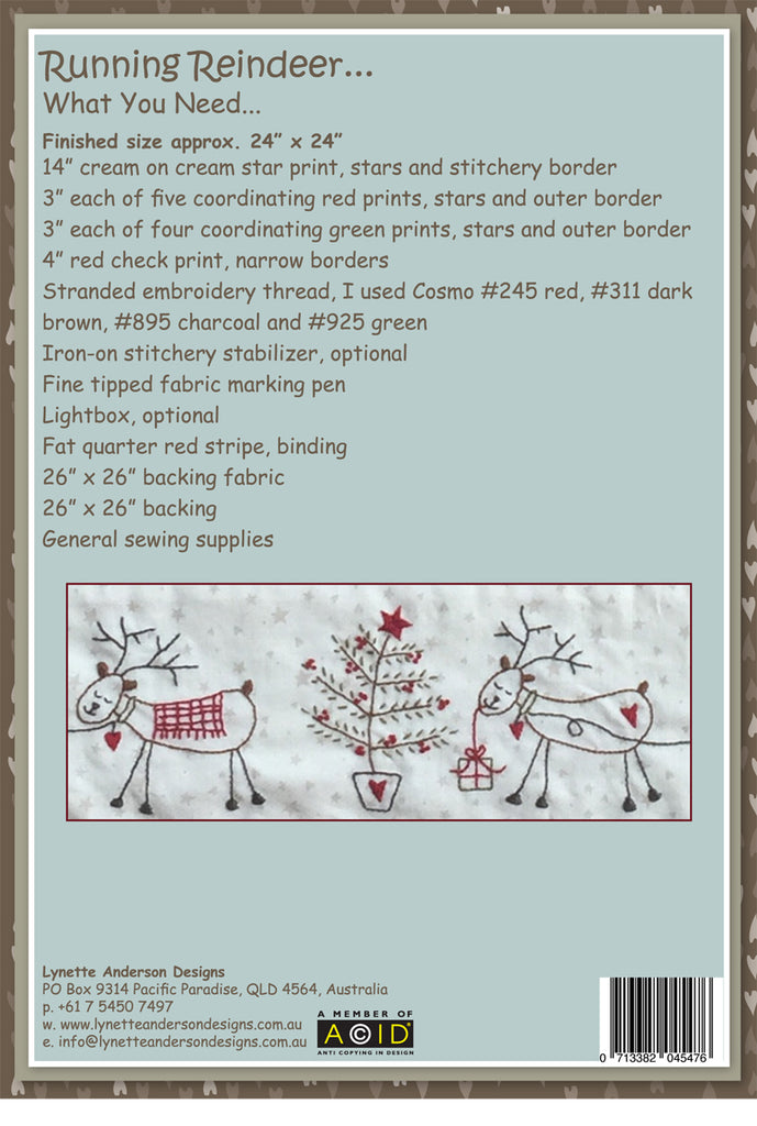 Running Reindeer Table Topper - pattern