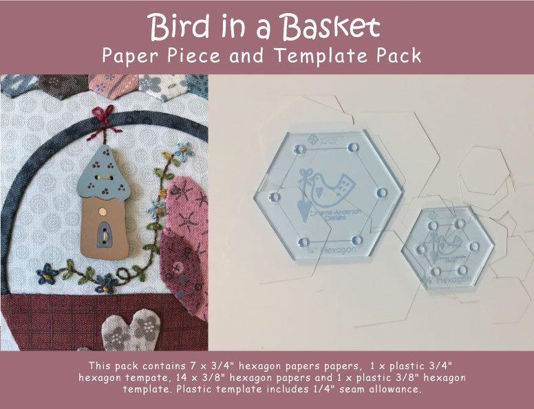 "3/4"" and 3/8"" Paper Pieces and Templates - Bird in a Basket"