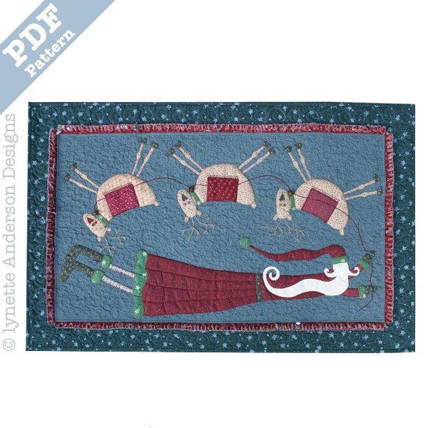 Flying Santa Tablerunner - downloadable pattern