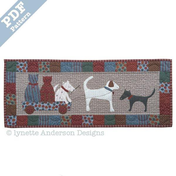 Fur Babies at Play Tablerunner - downloadable pattern
