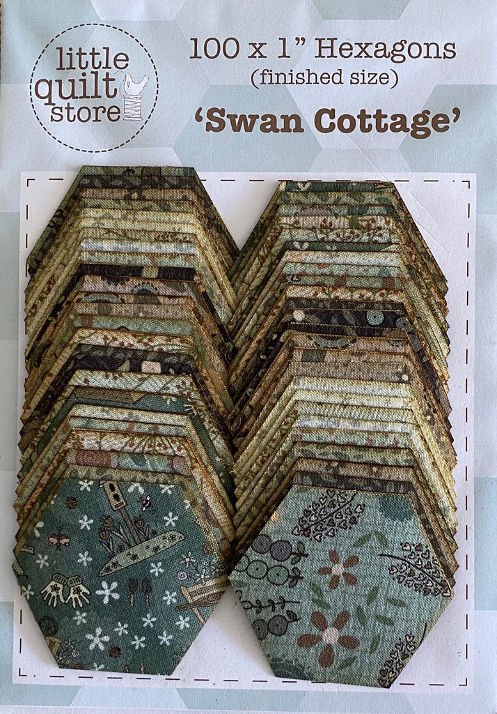 "Fabric Hexagon - 1"" laser cut - Swan Cottage"