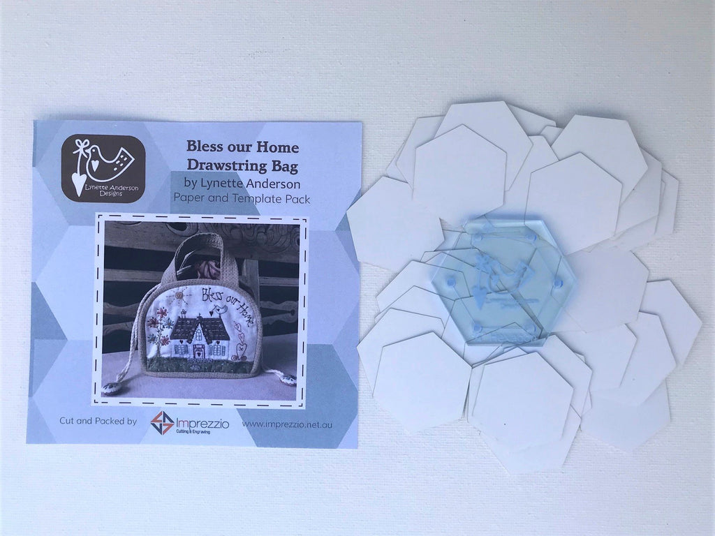 "3/4"" Paper Pieces and Template - Bless Our Home Drawstring Bag"