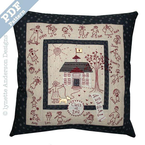 School House Pillow - downloadable pattern