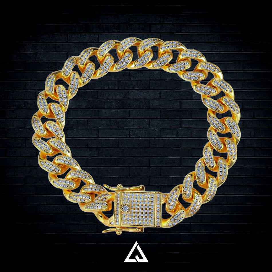 (14MM) ICED OUT CUBAN BRACELET - Lujoure