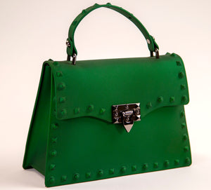 Green Mid-Size Padlock Flap Studded Splash Bag
