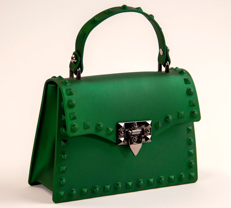 Green Mini-Size Padlock Flap Studded Splash Bag