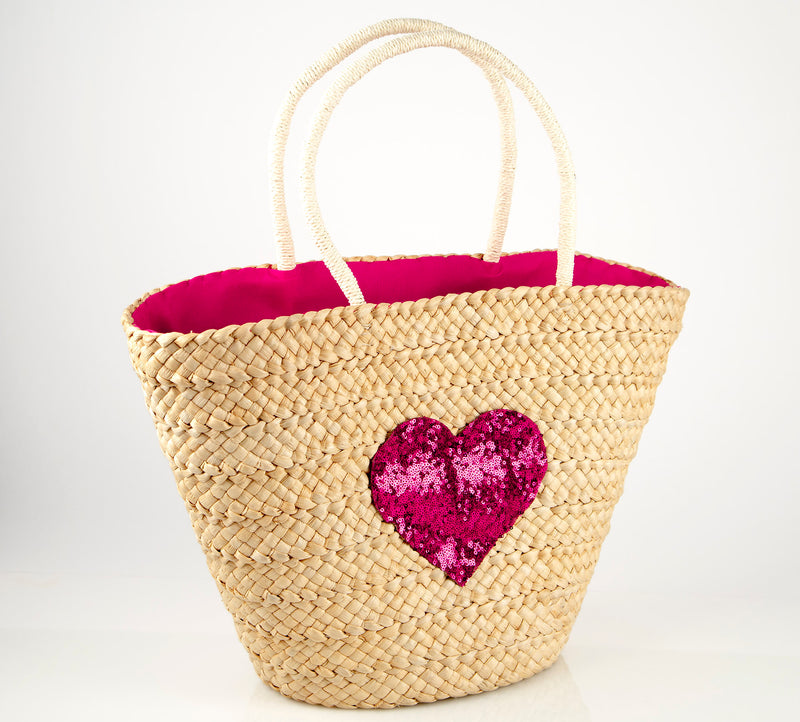Cartagena Fuchsia Sequin Heart Straw Bag