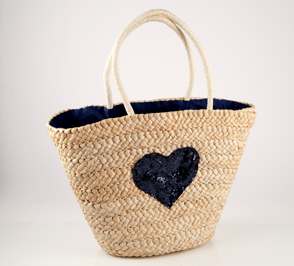 Cartagena Navy Blue Sequin Heart Straw Bag