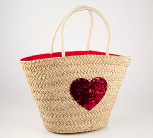 Cartagena Red Sequin Heart Straw Bag