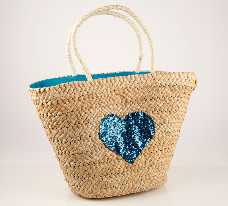 Cartagena Cerulean Blue Sequin Heart Straw Bag