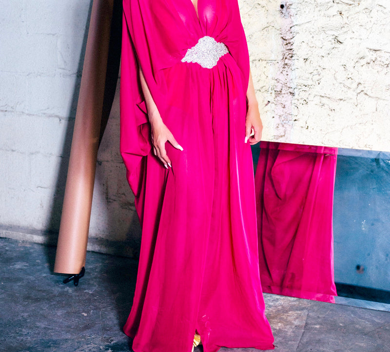 Fuchsia Embellished Long Kaftan