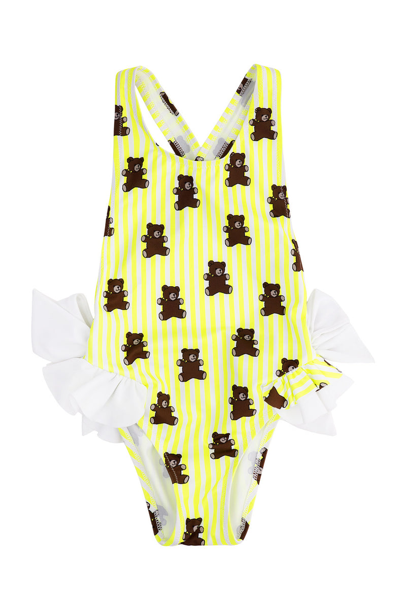 Piccoli Principi Pimenta Yellow Stripes Bears One Piece Girls Swimsuit