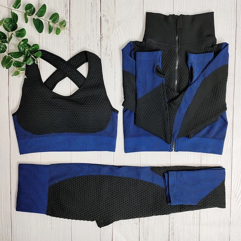 Black with Blue 3 piece Active Wear