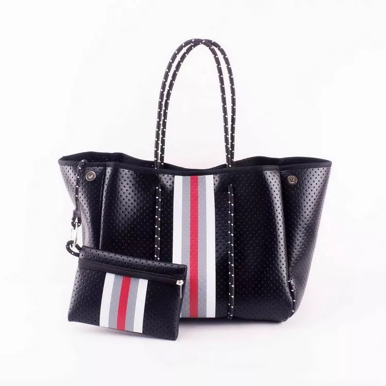 Large Black with Red Neoprene Tote