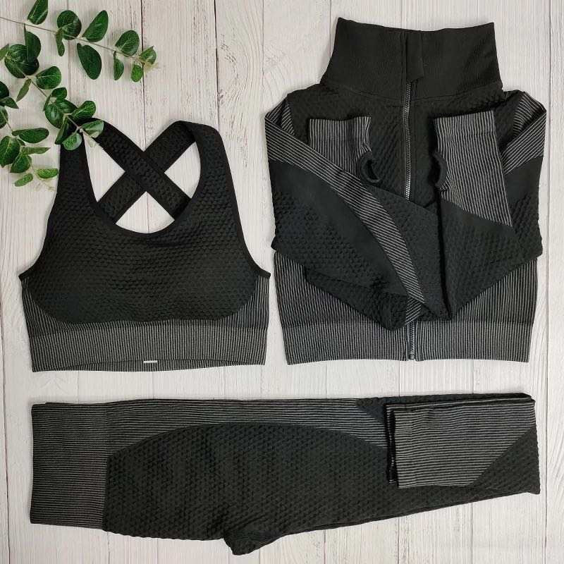Black and Grey 3 Piece Active wear