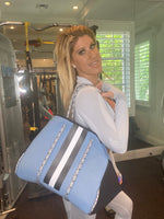 Large Blue White Strip Neoprene Tote