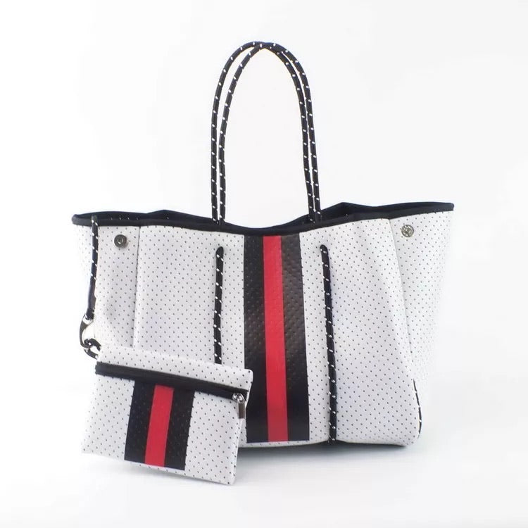 Large White with Red Stripe Neoprene Tote
