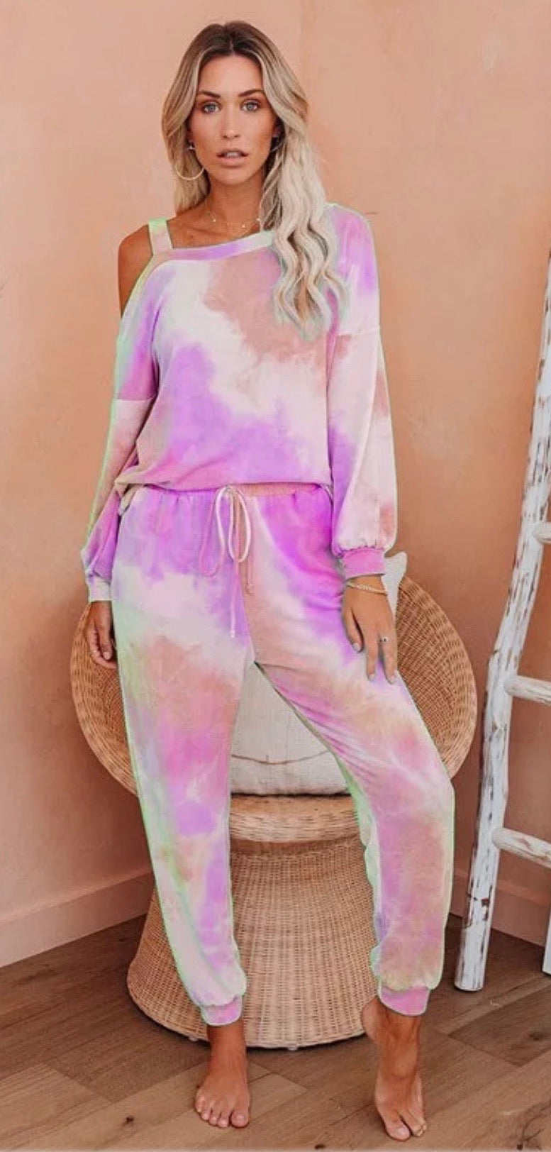 Orange and Pink Tie Dye Two Piece Loungewear