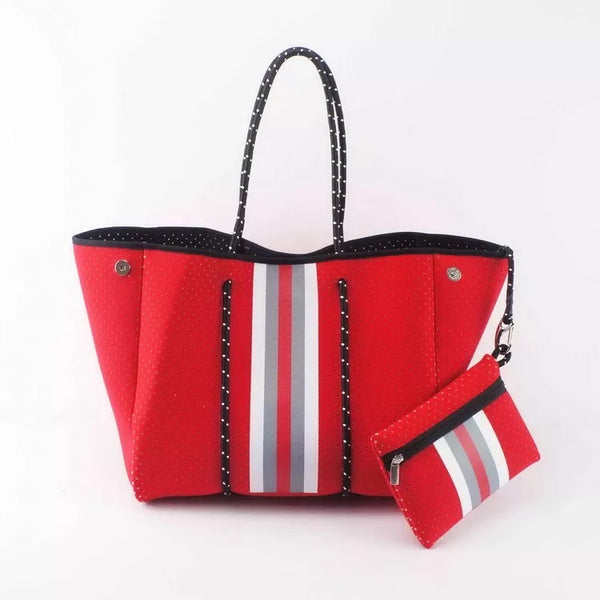 Large Red with white strip Tote