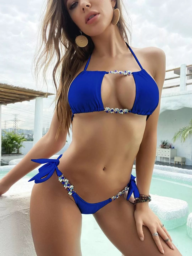 Two Piece Rhinestone and Halter Bikini