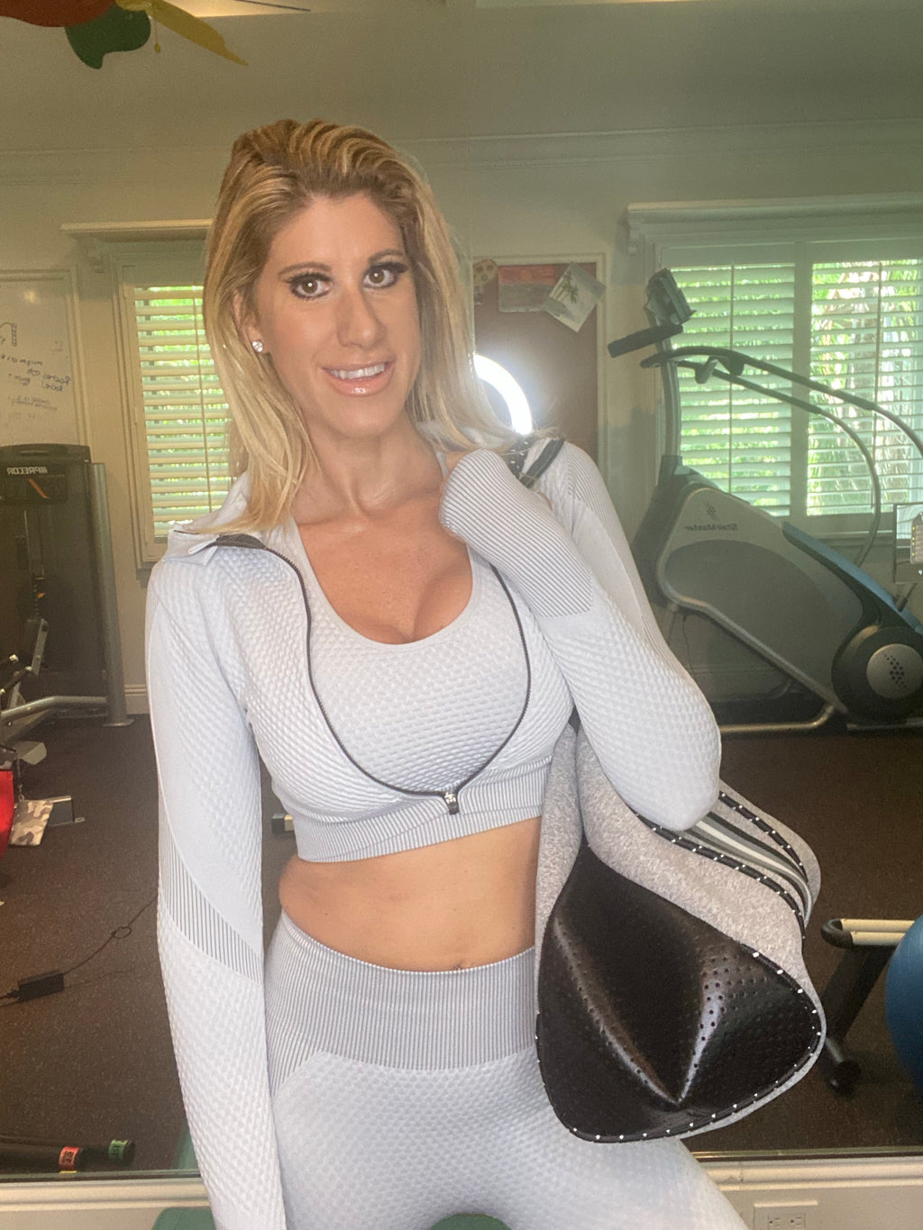 Grey and White 3 piece Active Wear