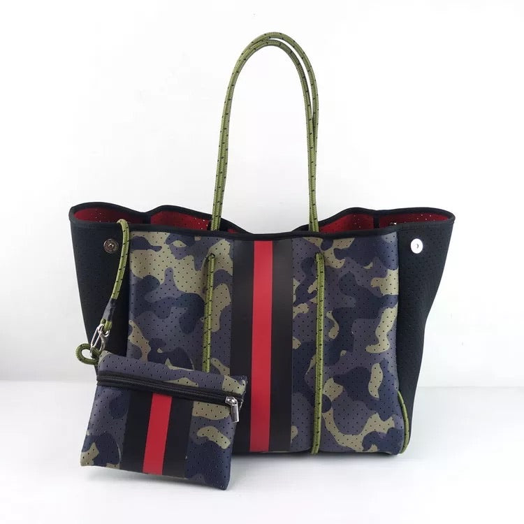 Large Camo with Red Stripe Neoprene Tote
