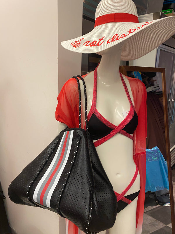 Large Black with red Tote with removable small bag