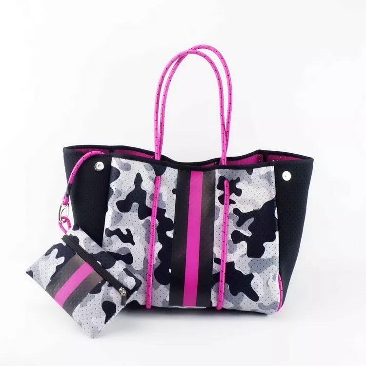 Large Black Grey and Pink Camo Neoprene Tote