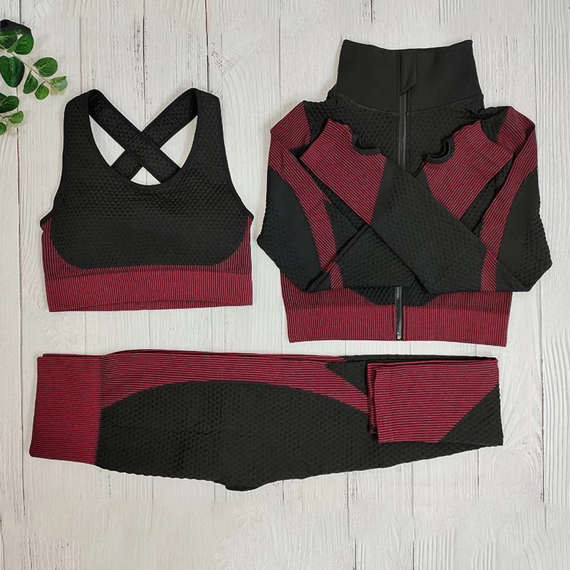 Black and Red 3 Piece Active Wear