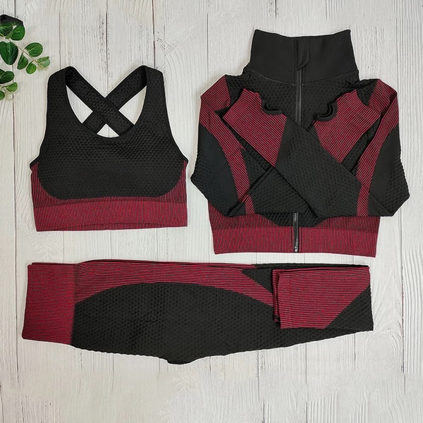 Black with Red 3 Piece Work out Set