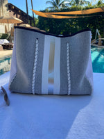 Large Grey with Silver Stripe Neoprene Tote