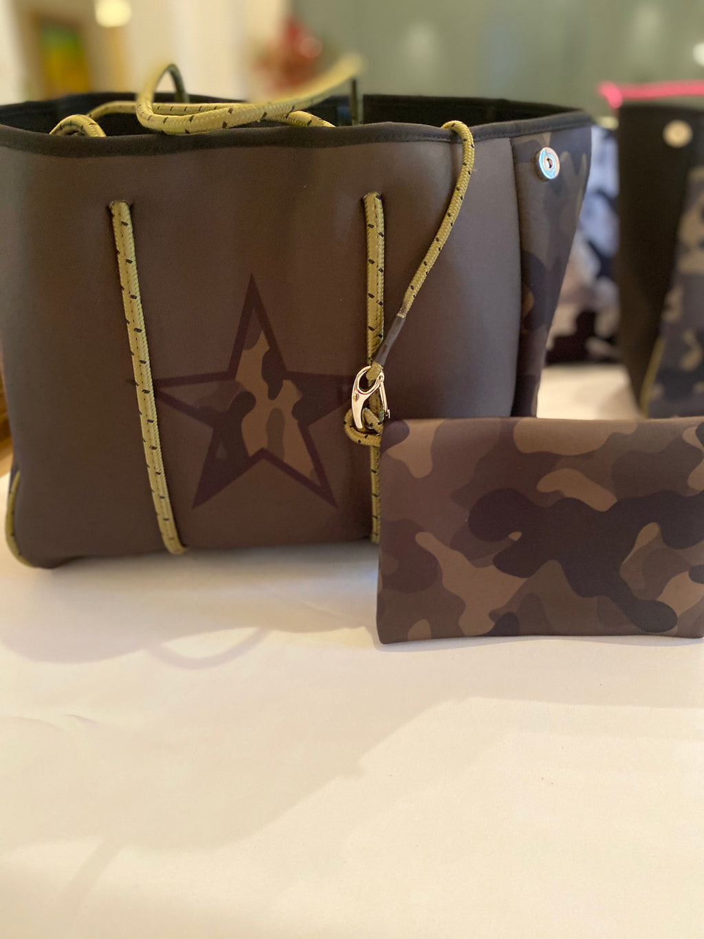 Large Green Camo with Star Neoprene Tote