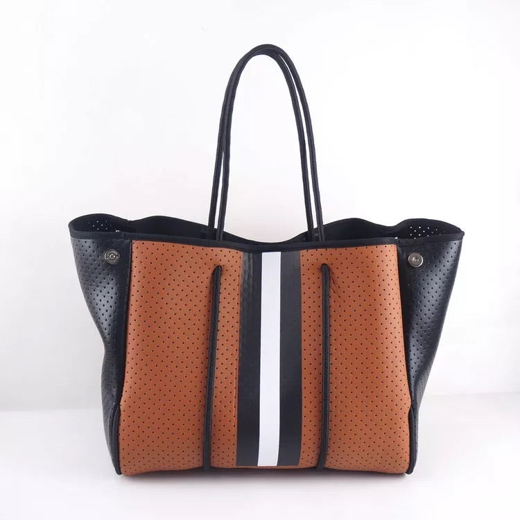 Large Brown with Black Stripe  Neoprene Tote