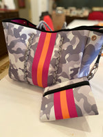 Large  Grey and Orange Camo Neoprene Tote