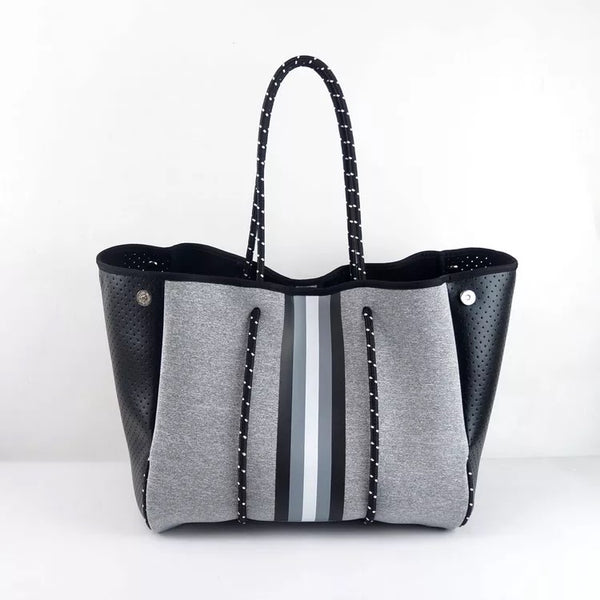 Large grey with black stripe Tote