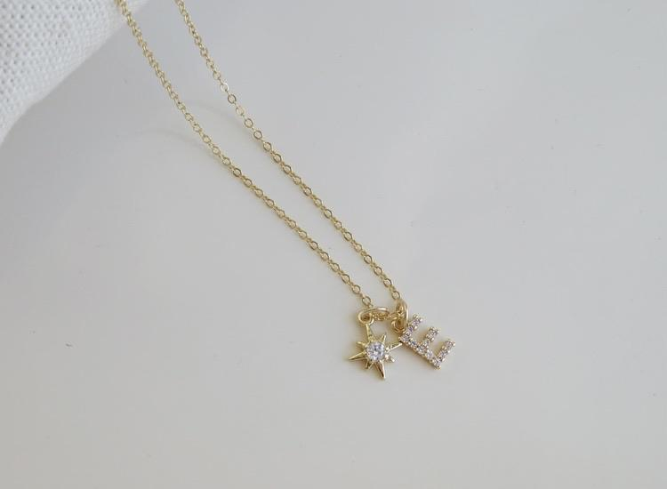Diamond Initial Celestial Star Necklace