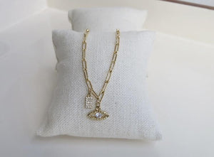 Diamond Evil Eye & Initial Clip Chain Necklace