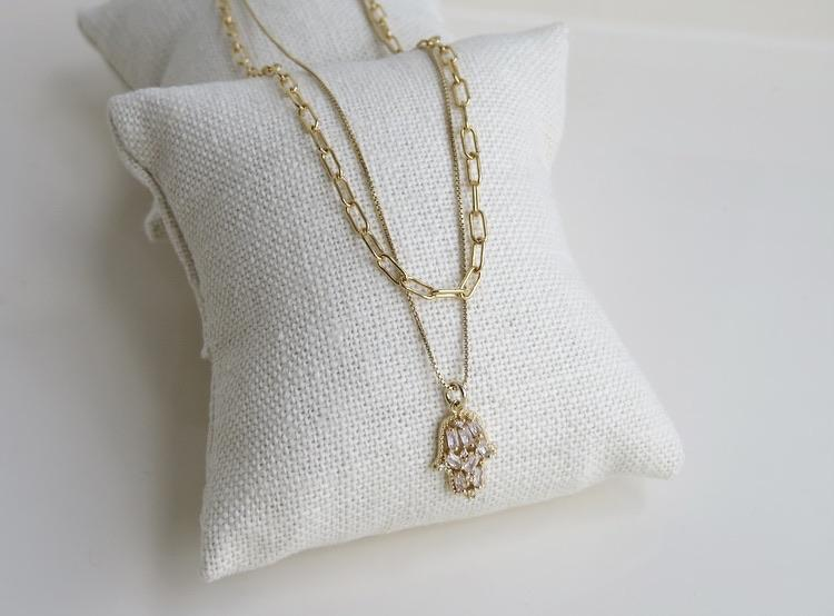 Boxed Diore Hamsa Necklace - Gold Filled