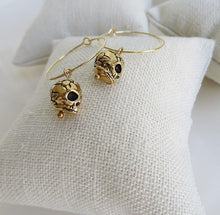 Load image into Gallery viewer, Gold on Gold Skull Hoops