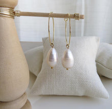 Load image into Gallery viewer, Large Organic Pearl Hoops