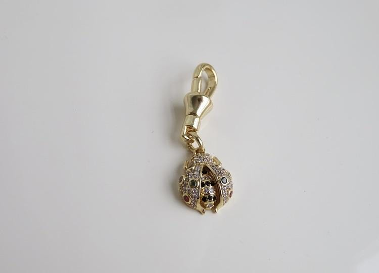 Colorful Diamond LadyBug Clasp Pendant